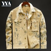 Camouflage Irregular Printed Mens Embroidery Denim Jackets A...