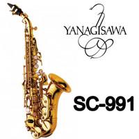 YANAGISAWA SC-991 Kavisli Soprano Saksafon Altın Vernik Pirinç Sax Profesyonel Ağızlık Yamalar Pedler Kamışlar Viraj Boyun