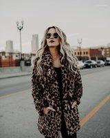Brasão Faux Fur Desigenr espessamento Quente lapela pescoço Casacos Casual casacos longos Feminino Vestuário Leopard Mulheres Winter