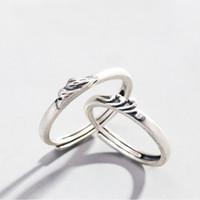 """Mode 925 Sterling Silber Ringe Bergsee Welle """"Ein feierliches Versprechen Der Liebe"""" Stil Ringe Für Liebhaber Einstellbare Größe"""
