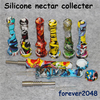 Silikon Nectar Collectar Mini Silikon Bong Silikon Wasserrohr Ölbohrinsel mit 14mm Titan Spitze Quarz Tip Bohrinsel Glaspfeife