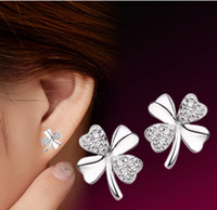 Lucky Four Clover Leaf Stud Earrings Austrian Crystal Jewelry 30% 925-Sterling-Silver New Wedding Stud Earrings For Women Korean ps0012