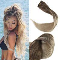 Clipe em extensões de cabelo ombre cor # 8 luz marrom desaparecendo para # 60 platinum loira 120g 7 pcs / set 100% clipe real na trama do cabelo
