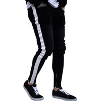 Jeans Black Men Casual Stripe pantalons Biker Ripped Jeans Denim Skinny effiloché Slim Fit Pantalons Pantalons Vêtements Pantalons Crayon