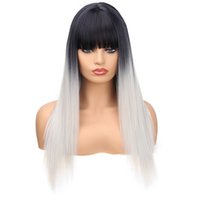 Fashion Hair Lace Frontal Long Straight Synthetic Wigs Ombre...