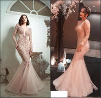 Sirena sexy 2019 Prom Dresses Manica lunga Illusion Sheer Neck Lace Occasioni formali Abito da sera Arabian Blush Cocktail Party Dresses