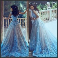 Light Sky Blue Prom Dresses With Sashes Appliques Formal Eve...