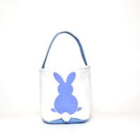 Cesta de Pascua de conejo Impreso Conejo de Pascua Cestas de Regalo Bolsas conejito cola bolsos del totalizador de la lona de lino de almacenamiento de dibujos animados Cubos Bolsas GGA3192-2