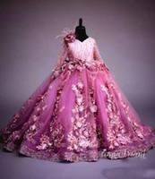 De lujo con cuentas niña de las flores vestidos de manga larga de las muchachas de flores hechas a mano del desfile de los vestidos de precioso encaje apliques hinchadas Tul Vestidos de baile