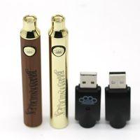 BK d'ottone regolabile Tensione della batteria Vape Pen 650mAh 900mAh Batterie oro legno Batterie pre-calore per Thick Oil cartuccia del carro armato