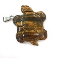 Venta al por mayor 10 PCS Plateado Plateado Tortuga Forma Tigre Ojo Piedra Colgante Verde Aventurine Para Joyería De Animales De Regalo