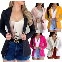 2020 폭발 모델 유럽과 미국의 작은 소송 단색 옷깃 긴 소매 슬림 버튼 재킷은 혼합 배치를 지원