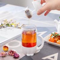 Glas Wasser Tasse Katze Muster Becher Frauen Und Männer Filterglas Mit Deckelgriff Schöne Weiß 9 8jy C1