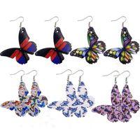 Orecchini di pendente nuova farfalla per le ragazze di cuoio donne di alta qualità ciondola gli orecchini Dichiarazione gioielli di moda Accessori
