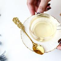 ステンレススチールメッキスプーンクリエイティブバラのハンドルミニコーヒーティースプーンのデザート前菜のための小さなスプーン
