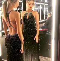 Siyah Gelinlik Modelleri Uzun 2019 Mermaid Anahtar Deliği Büst Criss Çapraz Geri Boncuk Örgün Abiye Giyim Kokteyl Parti Topu Sweet 16 Giydirme