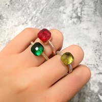 Fashion Colorful Candy Faceted Square Crystal Nudo Ring Micr...