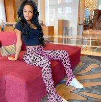 Damen Stacked-Gamaschen-Hosen-dünner Leopard druckt Split Plissee Flare Pants Damen 2020 Luxus-Designerkleidung