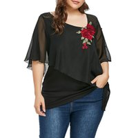 2019 Plus Size Women Blouse V- Neck Chiffon Flower Embroidery...