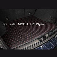 Tesla MODELİ 3 2019year araç kaymaz mat için özel bir anti-patinaj deri araba bagajı paspas paspas uygun