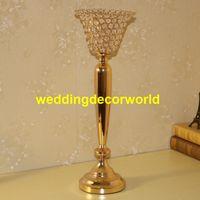 Стекло Кристалл свадьба центральным украшения высокий металлический подсвечник подсвечник ваза для цветов стенд decor355