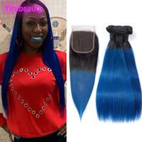 Hint Bakire Saç 3 Paketler ile 4X4 Dantel Kapatma İpeksi Düz 1B / Mavi Ombre İnsan Saç Uzantıları 1b Mavi Toptan Düz 4 adet