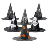 Puntelli di Halloween Cappello vacanze feste zucca Web Design Strega larghi del bordo dei cappelli del gioco di ruolo Costume Accessori Cap TTA1942-2