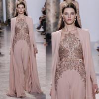 2020 New Elie Saab Kleider Abendgarderobe mit langen Ärmeln Sheer Juwel-Ausschnitt-wulstige Abendkleider Chiffon formales Kleid 2079