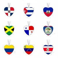Europa und Amerika Liebe Flagge Halskette Panama Jamaika Kuba Haiti Dominica Venezuela Belize Columbia Zeit Juwel Anhänger LJJJ60