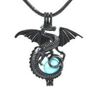 Charmes Noir Dragon Petite perle Cage Pendentif Pendentif Collier Collier Collier Collier Bijoux Fabrication de bijoux