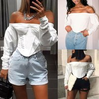 Tamanho T mulheres mais Camisa Blusa Pulôver feminino Casual Tee Off Shoulder Top Curto