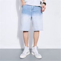 Slim elastico Gradient Man Hole denim shorts casuale di modo di lunghezza del ginocchio Zipper Shorts Estate Maschio sottili dritti Shorts Jeans