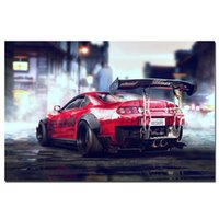 Racing Création Toyota Supra voiture de sport Poster Wall Art Photos Peinture murale Art pour Salon Home Decor (Frame No)