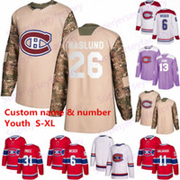jérsei 13 camisola do hóquei Youth 26 Mats Náslund Montreal Canadiens Max Domi 31 Carey Price 6 Shea Weber 11 Brendan Gallagher Drouin Kinkaid