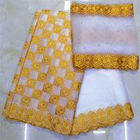 Afrikaanse structuur Basin Riche Getzner Bazin Brood Getzner Dentelle Tissu Nigeriaanse kantmateriaal Hoge kwaliteit 7 yard / lotykb-1