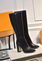 Роскошные новые женские зимние 9.5 см высокий каблук зима колено 15 дюймов ковбойские сапоги Леди корова кожаные сапоги Sz35-40