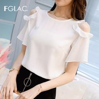 FGLAC Women blouse shirt Fashion casual short sleeve ruffles...