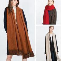 4 Farben-Troddel-Schal-Winter-Frauen Schal Mode Solide Double Side weichen Acryl Schals Gitter Wraps Lattice Decken CCA8199 10pcs