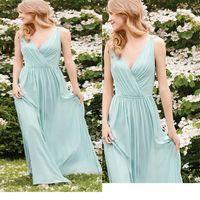2020 elegante sexy hortelã verde bainha chiffon dama de honra vestidos até o chão vestido longo de invitado de boda país barato dama de honra robes