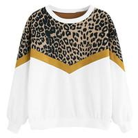 Moda Tshirt Kadın Hoodies Rahat Uzun Kollu Patchwork Leopar Baskı O-Boyun Boy T Gömlek Kore Tarzı Chemise Femme