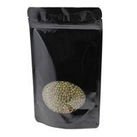Foil for Black Package Up Window Pure Zipper Mylar 100pcs Stand Bag Clear Round Alluminio con snack snack di cibo essiccato lucido SGBXM