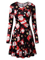 KIRA Women' s Christmas Dress Xmas Gifts Print Flared Sw...