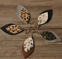 Leopard leather earrings New Designer Real leather earrings European and American leopard double-layer leaves earrings GB1013