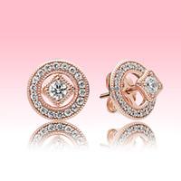Роскошный дизайнер 18K розовые золотые женские серьги CZ алмаз винтажный круг серьги гвоздики с оригинальной коробкой для Pandora Real Silver Searing