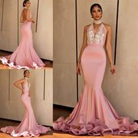 Rose taille haute Halter sirène Sheer robe de bal noire peau Lady Graduation Party Wear bal du soir Maxi robe dos ouvert Vestidos de soirée