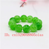 18mm Natural Green Agate Jade Bead Bracelet Bangle Charm Jew...