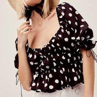 Fashion Crop Top-dünne Frauen Kleidung mit eckigem Ausschnitt Tupfen-Frauen T-Shirt Designer Sexy Top Teenager