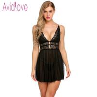 Avidlove Lingerie Sexy Érotique Chaud Babydoll Dress Femmes Patchwork Floral Dentelle Nuit Porn Chemise Sous-Vêtements Fantaisie Sexe Vêtements Y19070302