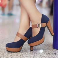 LAIGZEM Super Women Mary Jane Heels Buckle Strap Thick Heel ...