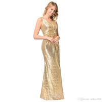 Moda abiti alla moda alla moda sexy damigella d'onore elegante scintillio dorato abito gonna senza maniche